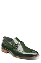 Stacy Adams Tanner Brogued Bit Loafer Dark Green Leather