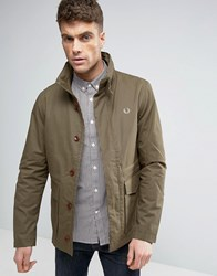 Fred Perry Field Jacket Concealed Hood In Olive Dark Olive Green