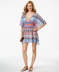Jessica Simpson Open Back Printed Cover Up Women's Swimsuit Multi