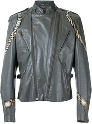 A La Garconne Hand Painted 'Perfecto' Jacket Unisex Leather M Grey