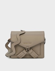 Charles And Keith Tassel Detail Crossbody Bag Taupe