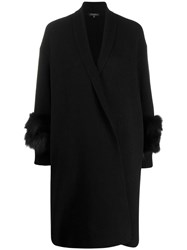 Antonelli Faux Fur Detail Cardi Coat Black