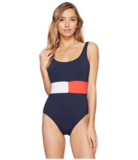 Tommy Hilfiger Retro Flag Flag Color Block One Piece Core Navy Women's Swimsuits One Piece