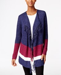 G.H. Bass And Co. Fringe Open Front Cardigan Deep Navy Combo