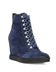 Fergie Jillian Suede Wedge Lace Up Booties Navy Blue