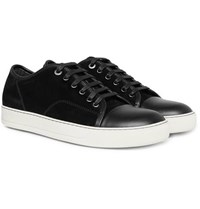 Lanvin Cap Toe Suede And Leather Sneakers Black