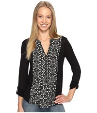 Lucky Brand Printed Woven Mix Henley Black Multi Women's Clothing