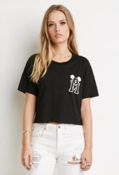 Forever 21 Mickey Mouse Boxy Tee Black White