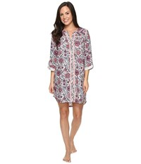 Lucky Brand Taped Flannel Sleepshirt Winter Rose Vines Border Women's Pajama Multi