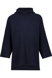 Magaschoni Ribbed Wool Blend Hooded Sweater Midnight Blue