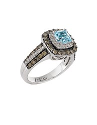 Le Vian Sea Blue Aquamarine And Chocolate Diamond Ring In 14K Vanilla Gold