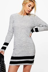 Boohoo Jasmine Ribbed Slim Fit Striped Knitted Dress Silver