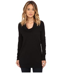 Three Dots Long Sleeve Funnel Neck Tunic Black Women's Long Sleeve Pullover