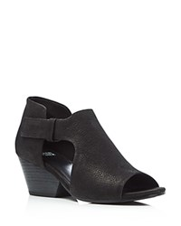 Eileen Fisher Iris Cutout Mid Heel Booties Black