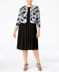 Jessica Howard Plus Size A Line Dress And Floral Print Jacket Black Floral Pattern