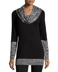 Neiman Marcus Space Dye Print Cowl Neck Tunic Black Tweed