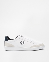 Fred Perry Hopman White Leather Plimsoll Trainers Whitenavy