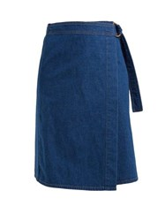 M.I.H Jeans Ria Cotton Chambray Wrap Skirt Dark Blue