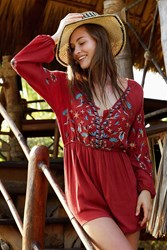 Ecote Embroidered Balloon Sleeve Romper Rust