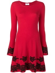 Allude Floral Lace Detail Dress Red