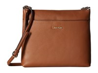 Calvin Klein Pebble Leather Crossbody Luggage Cross Body Handbags Brown