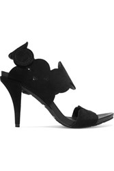 Pedro Garcia York Scalloped Suede Sandals Black