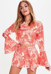 Missguided Orange Paisley Print Tie Waist Shorts