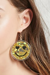Forever 21 Happy Face Drop Earrings Gold Black
