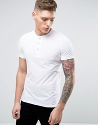 Abercrombie And Fitch Henley T Shirt Muscle Slim Fit Rib Cuffed Sleeve In White White