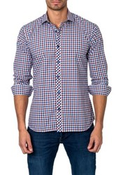 Jared Lang Checkered Long Sleeve Semi Fitted Shirt Blue
