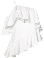Marques Almeida Marques'almeida Jersey One Shoulder Frill Top Women Polyamide Polyester S White