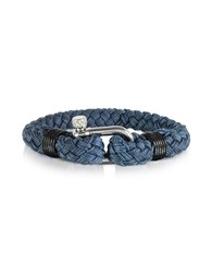 Forzieri Men's Bracelets Navy Blue Woven Rope Men's Bracelet