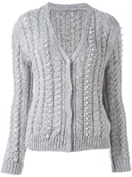 Ermanno Scervino Pearl Embroidery Cardigan Grey