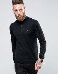 Farah Knitted Polo Shirt In Merino Wool Slim Fit Black Black