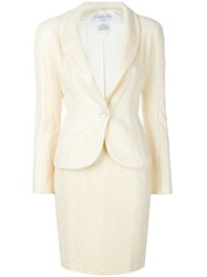 Christian Dior Vintage English Embroidery Skirt Suit Nude And Neutrals