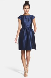 Women's Alfred Sung Woven Fit And Flare Dress Midnight