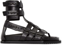 Rick Owens Black Leather Gladiator Sandals