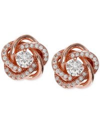 Giani Bernini Cubic Zirconia Love Knot Stud Earrings In 18K Rose Gold Plated Sterling Silver Only At Macy's