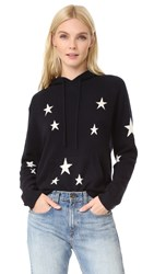 Chinti And Parker Star Cashmere Hoodie Navy Cream