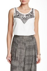 Jessica Simpson Sequin Surplice Back Blouse White