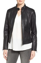 Bernardo Petite Women's 'Kerwin' Leather Jacket Black