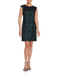 Vince Camuto Textured Jewelneck Dress Teal Black