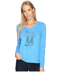 Life Is Good Happy Trails Boots Engraved Long Sleeve Crusher Vee Tile Blue Women's T Shirt