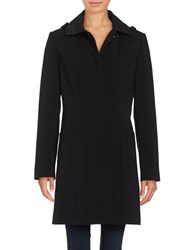 Gallery Hooded Button Front Coat Black