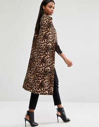 Lavish Alice Leopard Print Collarless Cape Coat Leopard Print Multi