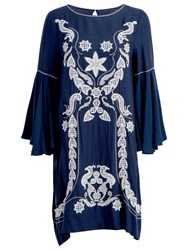 Max Studio Fluted Sleeve Embroidered Dress Navy Ivory