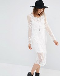 Mango Embroidered Midi Dress Cream