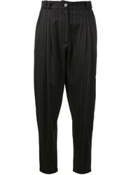 Marios Pinstripe Baggy Trousers Black