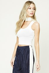 Forever 21 Choker Neck Crop Top Ivory