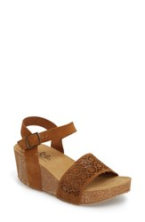 Bos. And Co. Lolo Platform Wedge Sandal Cognac Suede